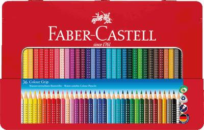 FABER-CASTELL Farbstift Colour GRIP 2001 Blechetui 36er/112435, Inh. 36