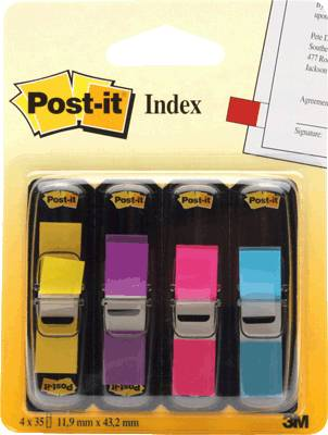 Post-it Index Mini/683-4AB, lemon+lila+pink+türkis, 11,9x43,2mm, Inh. 4