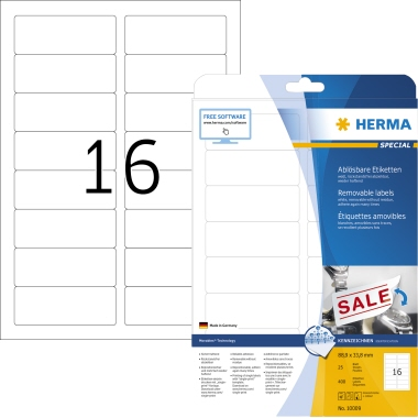 HERMA Etikett Movables 10009 88,9x33,8mm matt ws 400 St./Pack.